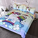 BlessLiving Unicorn Kids Bedding Duvet Cover Set Cute Magical Unicorn with Rainbow 3 Piece Super Soft Teen Girl Purple Yellow Bedspreads (Twin)