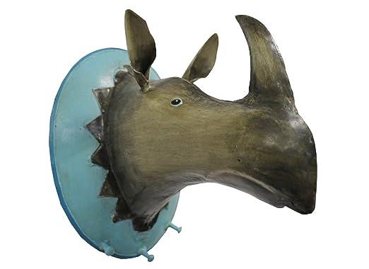 Perchero de pared trofeo rinoceronte artesanía colgadores ...