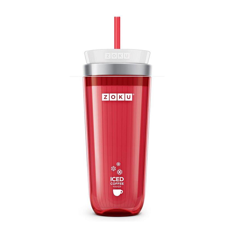 Zoku Red Iced Coffee Maker, Travel Mug