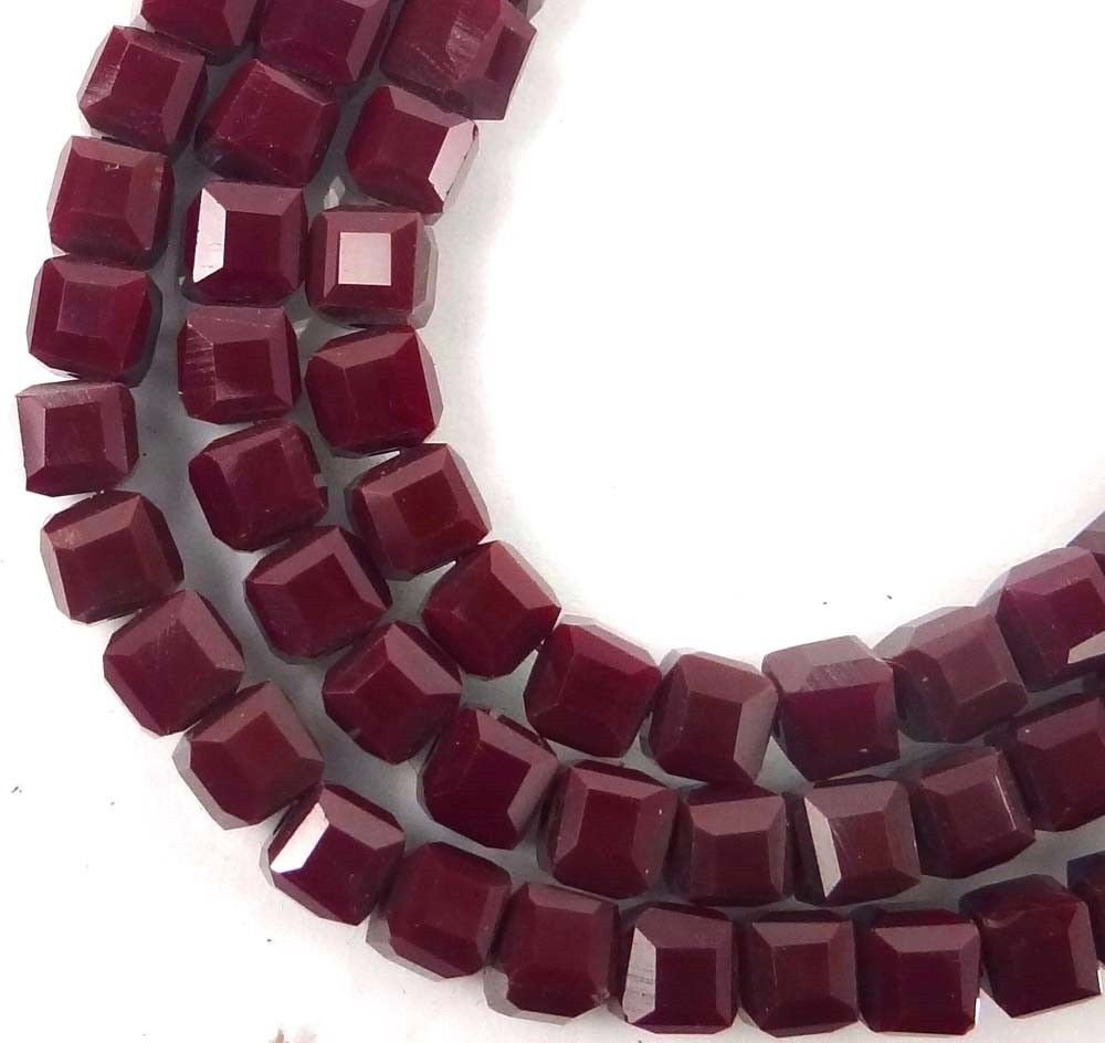 50 Czech Firepolish Glass Faceted Cube Beads 4mm - Maroon / Amaranth Adhit_ebe