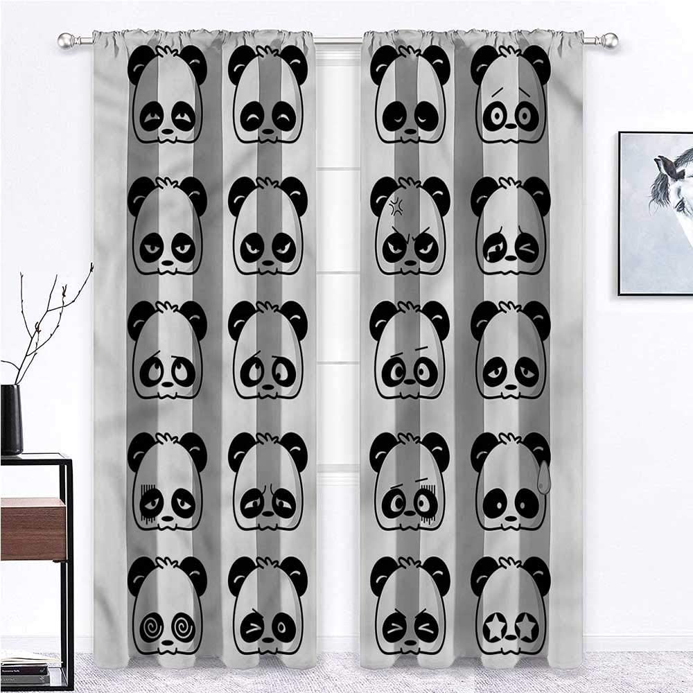 GugeABC Farmhouse Curtains Panda 2 Rod Pocket Curtain Panels Animals with Fun Expressions 96 x 84 Inch (2 Panels)