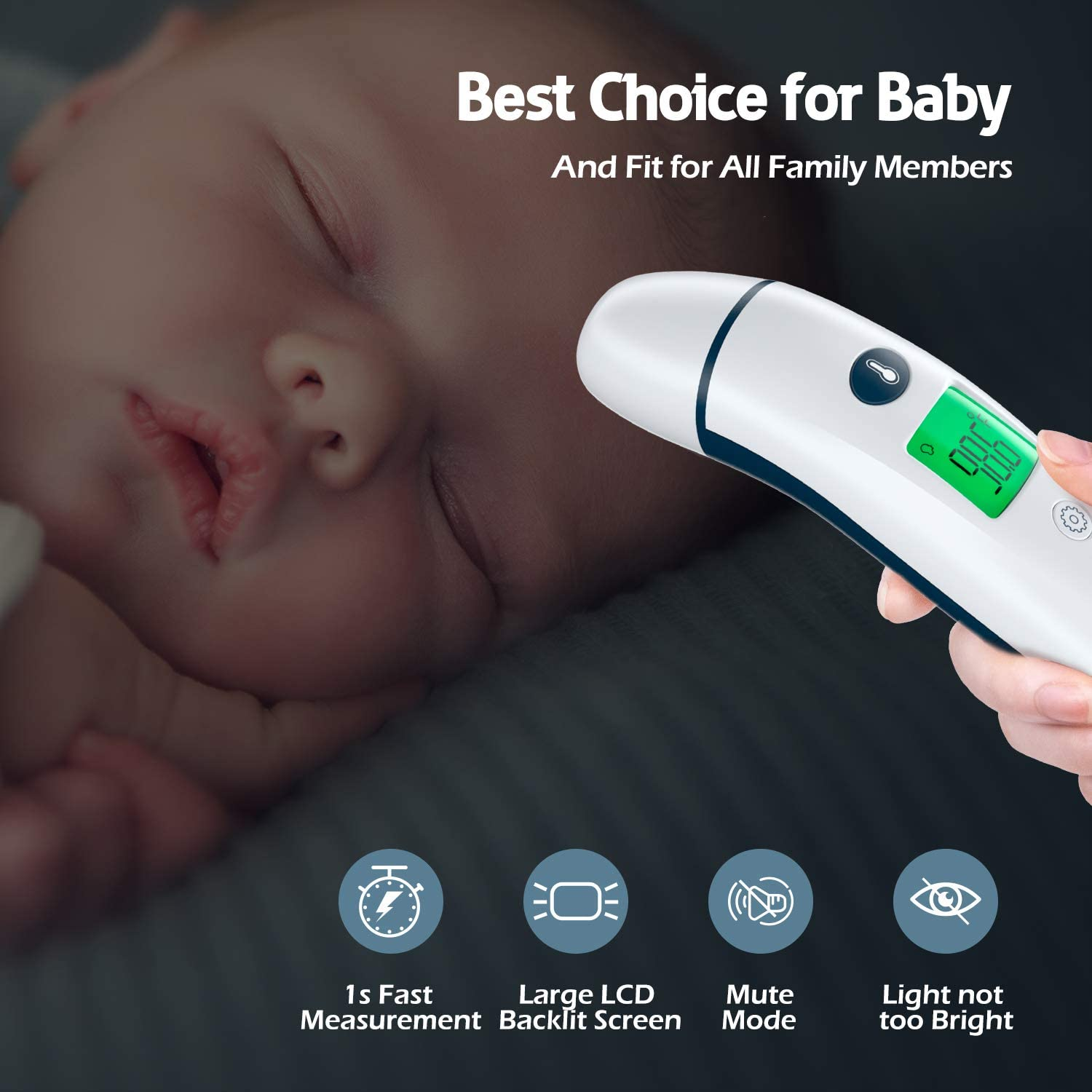 Vigorun Baby Thermometer Forehead and Ear Thermometer for Fever, Infrared Digital Thermometer for Babies, Kids, Adults, Toddlers
