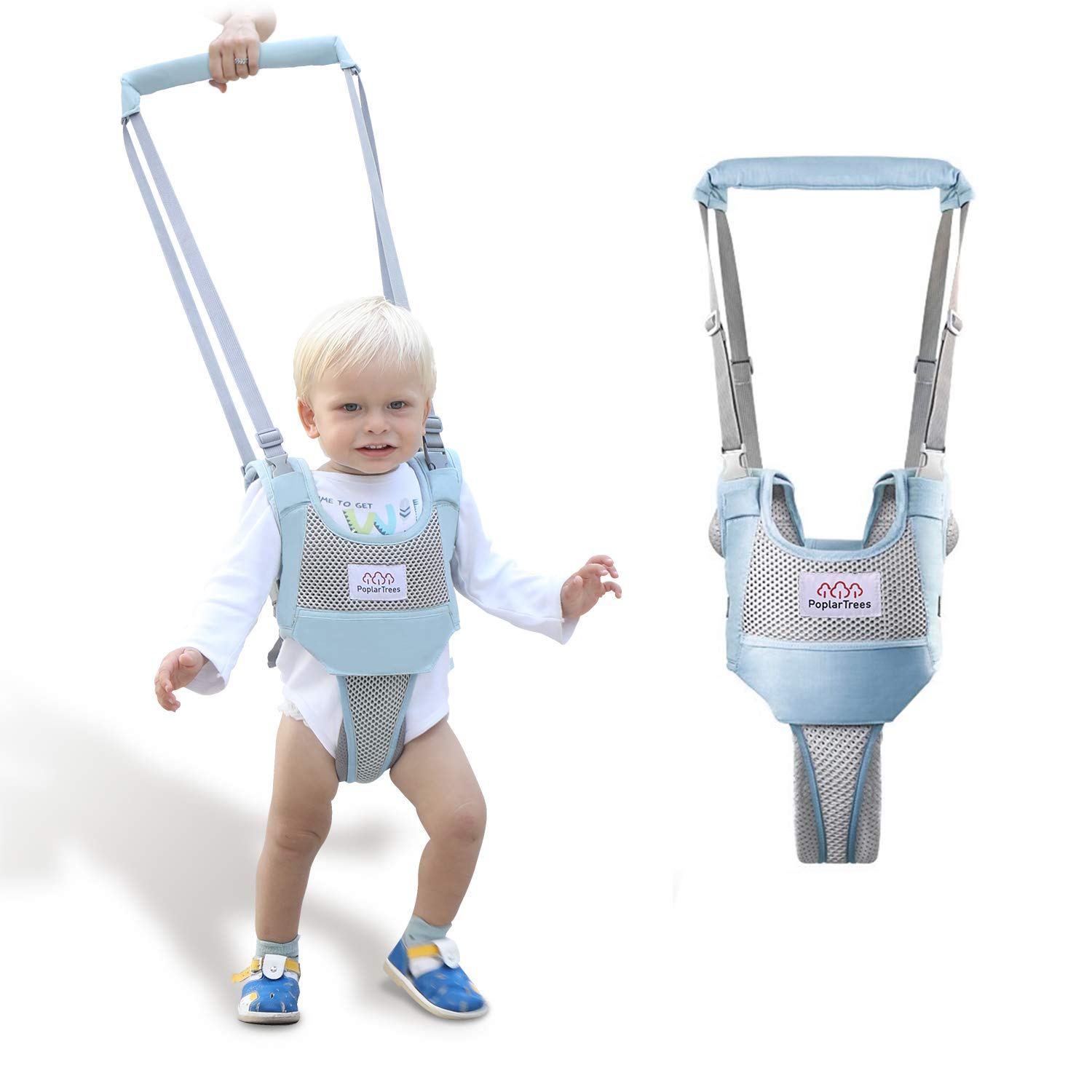 Baby Walker, PoplarTrees Baby Walking Harness, Adjustable Toddler Walking Helper with Detachable Crotch for 7-24 Months Kids, Breathable Toddler Walking Learning Assistant Child Activity Walker