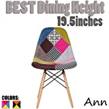 2xhome Multicolor – Modern Upholstered Eames Style Side Fabric Chair Patchwork Multi-pattern Natural Wood leg Eiffel Dining Room Chair No arm