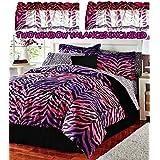 Pink & Purple Ombre Zebra/Leopard Print Comforter & Sheet Set + Toss Pillow and Two Window Valances (9pc TWIN SIZE Ensemble)