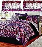 zebra sheet set twin - Pink & Purple Ombre Zebra/Leopard Print Comforter & Sheet Set + Toss Pillow and Two Window Valances (9pc TWIN SIZE Ensemble)