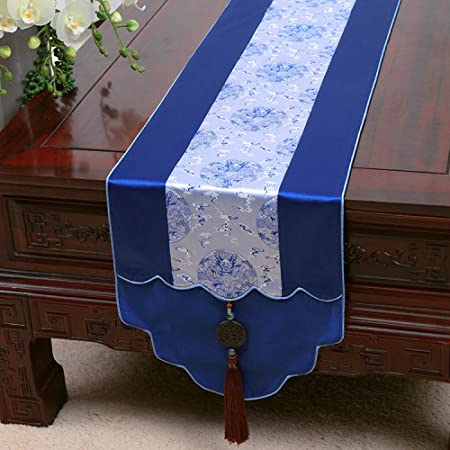 Camino De Mesa,Vintage Blue Runner Tabla Impresa Brocade Fabric ...