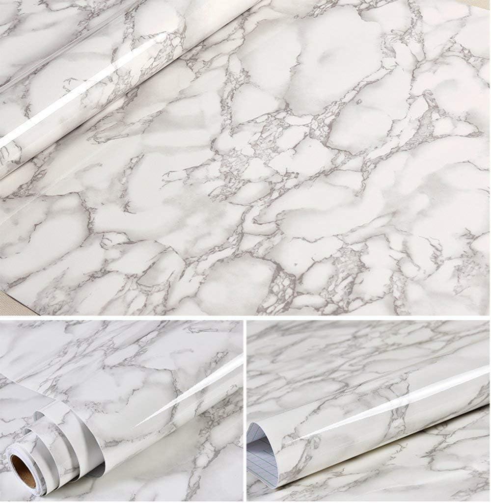 61/x 495,3/cm Grigio marmo look Contact Paper Gloss pellicola vinile autoadesivo di granito Shelf Liner Peel and Stick Wall Decal per coprire Counter top armadio da cucina