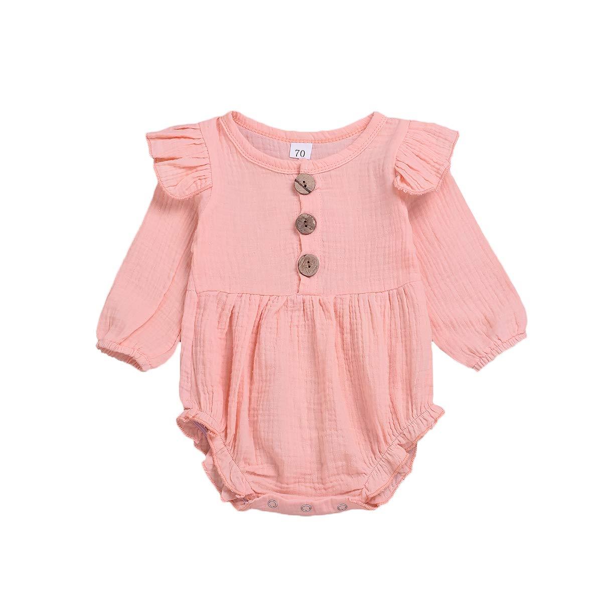 Infant Baby Girls Ruffle Long Sleeve Romper Bodysuit Seersucker Jumpsuit Overall Playsuit 0-24M