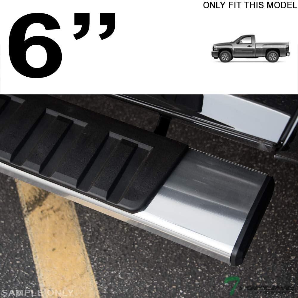 Topline Autopart 6 Factory OE Rectangular Style Silver Aluminum Side Step Rail Running Boards frc For 07-18 Chevy Silverado ; GMC Sierra Regular Cab Standard