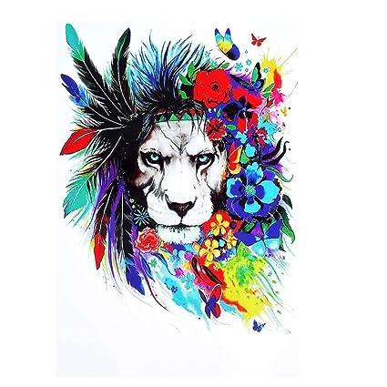 Justfox – Tatuaje temporal, diseño de león con plumas, multicolor ...