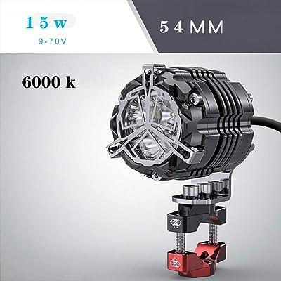 Aione 32mm 42mm 54mm15W Moto Éclairage Accessoires Phare LED Super Bright Motocross Auxiliaire Strobe Lights Rouge Jaune Lumière,Black,54mm Cuisine & Maison