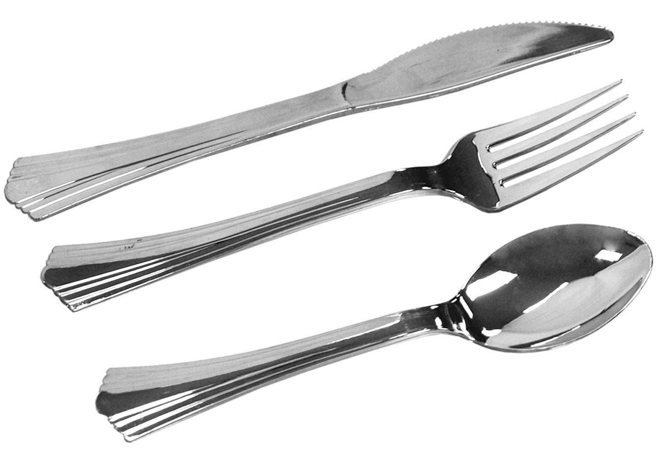 テーブルto Goシルバー反射Heavyweight Disposable Flatware 100 Forks, 50 Spoons, 50 Knives シルバー Cor-3792b9cb39 B00GY0ZOWE   100 Forks, 50 Spoons, 50 Knives