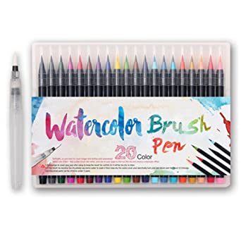 Amazon Honyo カラーペン 水彩毛笔 20色套装筆ペン 水性ペン収納ケース
