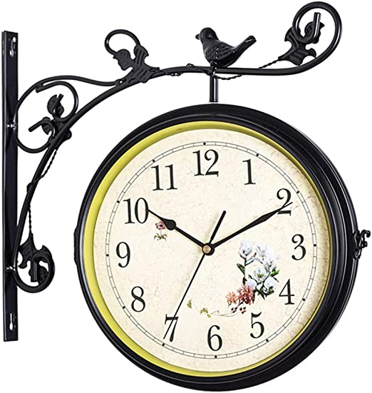 Jardín al Aire Libre Reloj de Pared de Doble Cara, Reloj de Pared de Hierro Forjado Reloj Creativo Movimiento silencioso Reloj Romano, Adecuado para Interiores, Exteriores, pasillos: Amazon.es: Hogar