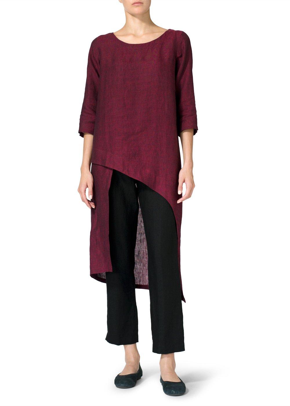 Vivid Linen Asymmetrical Tunic-S-Dark Burgundy