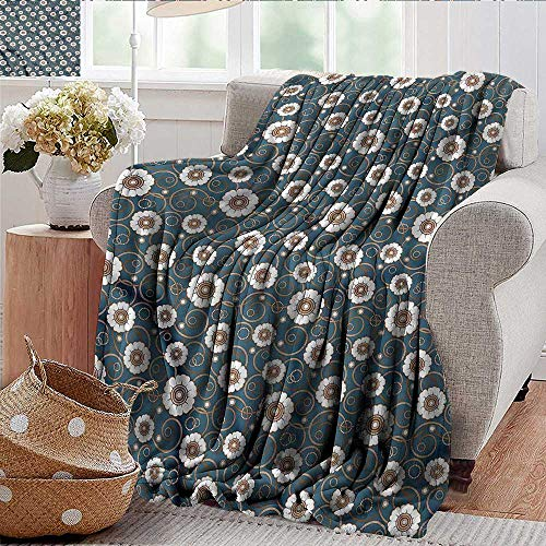 Xaviera Doherty Camping Blanket Vintage,Pattern of Daisies Lightweight Breathable Flannel Fabric,Machine Washable 30
