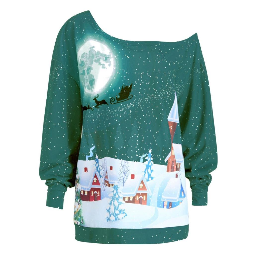 Christmas OverSize Blouse!Tootu Women Print Plus Size Sweatshirt Christmas Party T-Shirt (2XL/Asian Size: 3XL, Green)