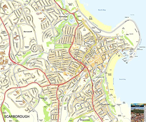 Gifts Delight LAMINATED 28x24 Poster: Scarborough Offline Street Map, including Scarborough Castle, Harbour, North Bay, South Bay and - Scarborough Castle