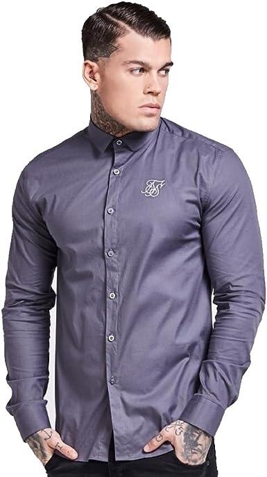 Sik Silk - Camisa Casual - para Hombre Gris Gris: Amazon.es ...