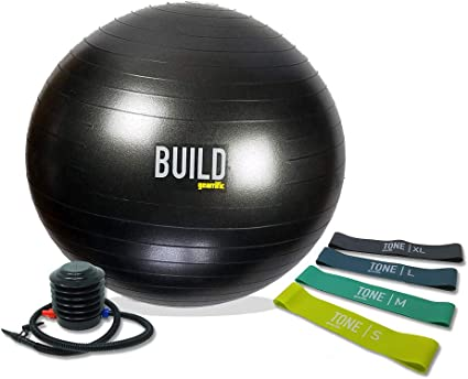 Pump 65cm Fitness Ball Exercise Ball W// 15LB Resistance Bands Stability Base