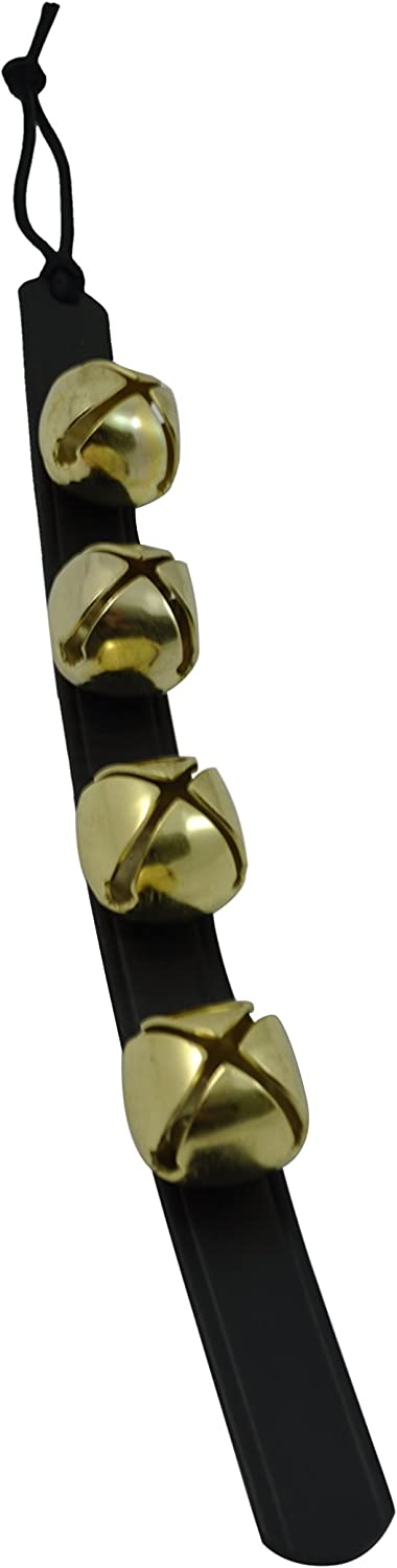 "Door Hanging Bells – Sleigh Bells Door Hanger – Bells on Leather Strap – Shopkeepers Bell Over The Door – Jingle Bells for Christmas Décor (14"" Black Leather Strip, 4 Brass Bells)"