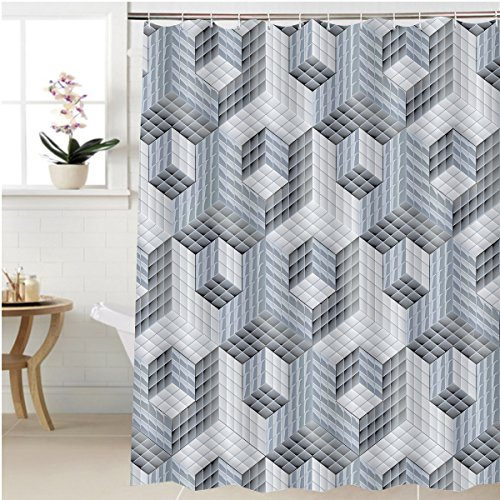 Gzhihine Shower curtain d optical art pattern ornament Bathroom Accessories 72 x 84 - Optical York New European