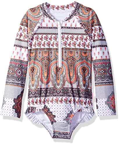 Seafolly Girls' Moroccan Paisley L/s Surf Tank