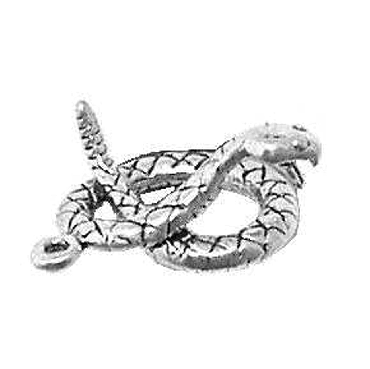 Sterling Silver Womens 1mm Box Chain 3D Striking Rattle Snake Fixing To Attack Pendant Necklace