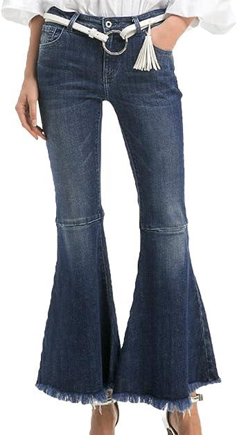 ZhiYuanAN Mujer Pantalon Vaquero Campana Moda Talle Alto Push Up Denim Jeans Casual Mezclilla Pantalones Vaqueros Anchos Azul Oscuro M: Amazon.es: Ropa y accesorios