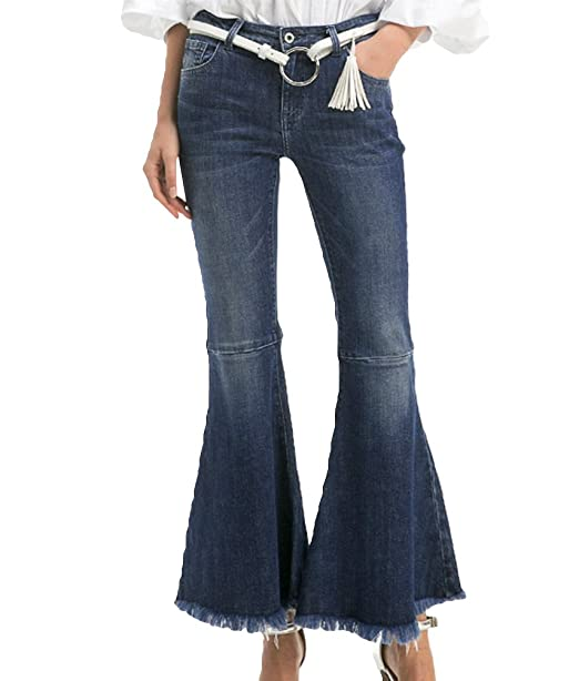 ZhiYuanAN Mujer Pantalon Vaquero Campana Moda Talle Alto ...