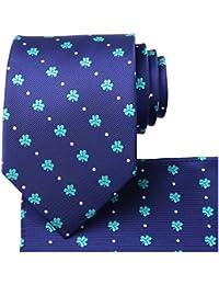 7919dc9517ad Mens Tie Set: Paisley Necktie + Pocket Square Hanky + Gift Box