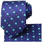 mens blue green ties - KissTies Blue Tie Mens Necktie Green Clover Ties + Gift Box