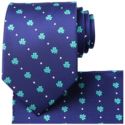 KissTies St. Patrick's Day Tie Mens Shamrock Necktie Green Clover Ties+Gift Box