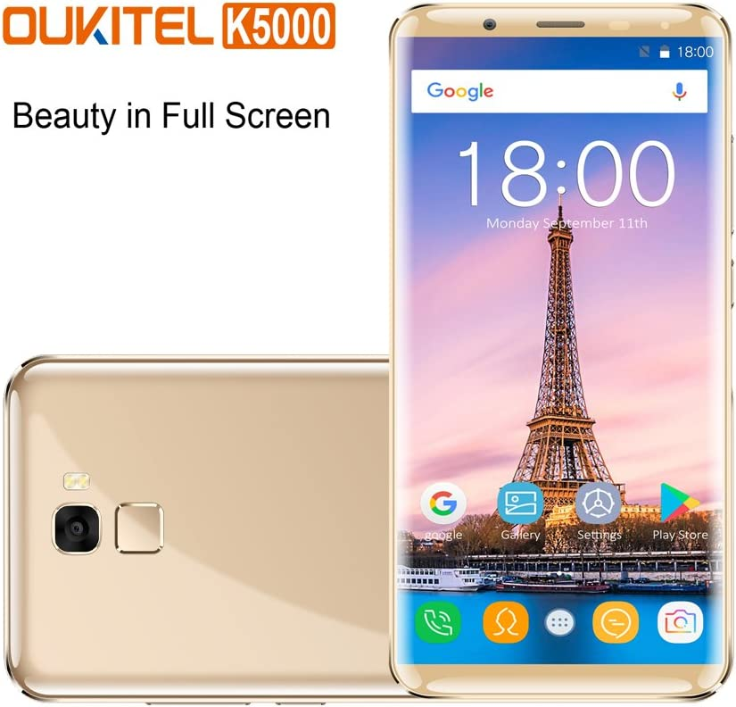 Oukitel K5000 Smartphones Libres (relación 18: 9)4G Android 7.0 , 4G RAM 64G ROM Octa Core,Dual Sim,5000mAh batería 9V / 5A Carga rápida-Oro: Amazon.es: Electrónica