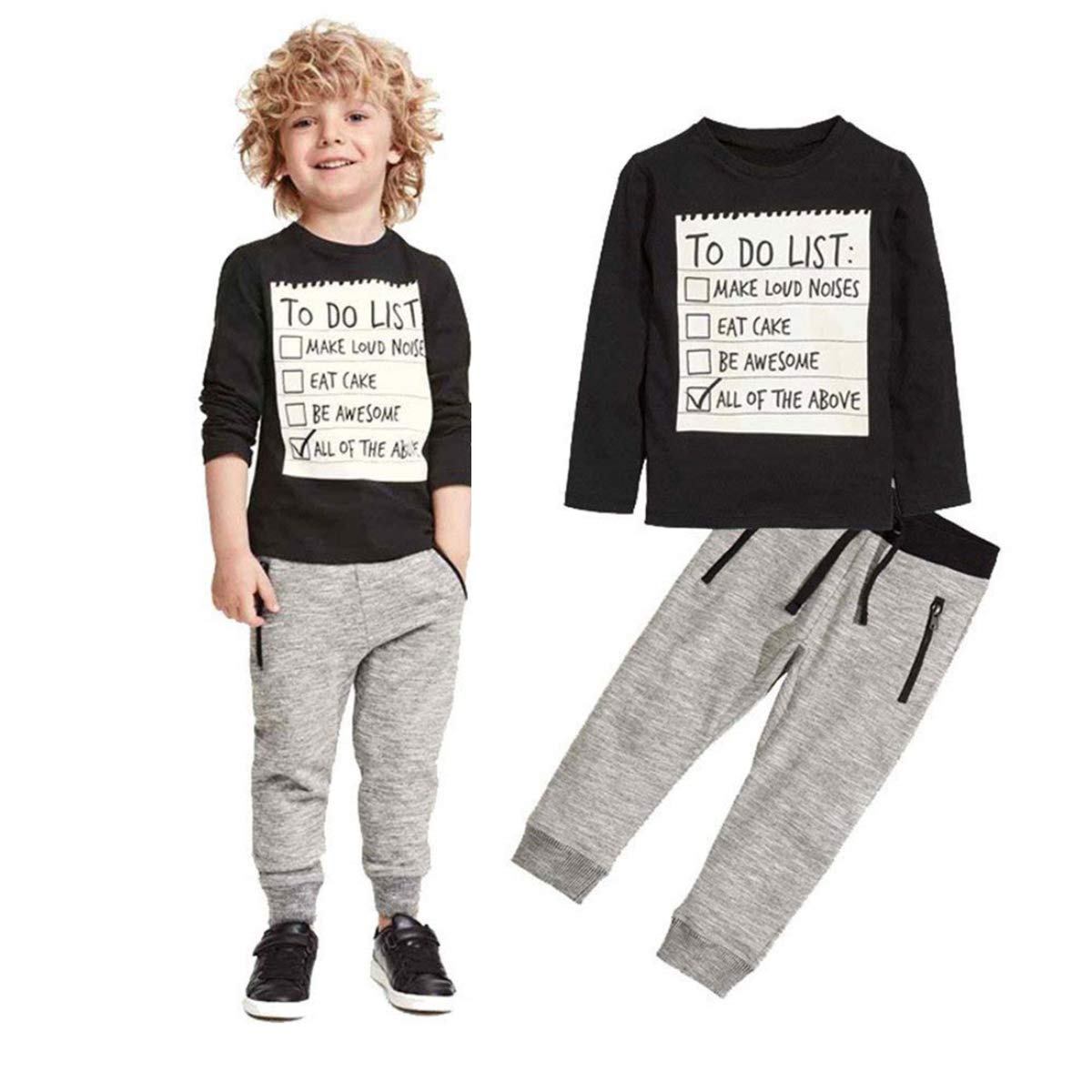 Baby Boy Clothes Funny Letter Printed Tops Leggings Pants Outfits Set for Toddler (Black,5T)