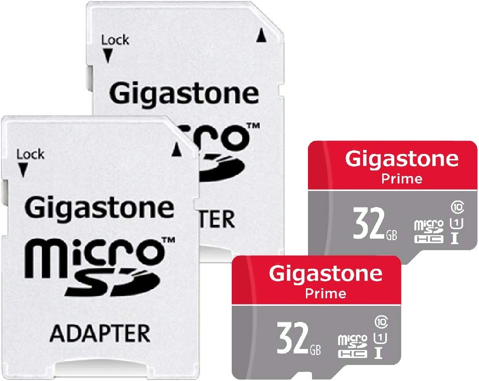 Gigastone Micro SD Card 32GB 2-Pack MicroSD HC U1 C10 with Mini Case and SD Adapter High Speed Memory Card Class 10 UHS-I Full HD Video Nintendo Switch Dash cam GoPro Camera Samsung Canon Nikon Drone