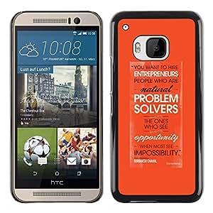 Resolución de problemas Emprendedor de Orange- Metal de aluminio y de plástico duro Caja del teléfono - Negro - HTC One M9