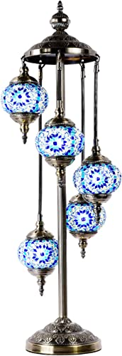 Marrakech Turkish Floor Lamp Mosaic Glass 5 Globes Bedside Floor Lamp Moroccan Tiffany Style Decorative Lantern Night Light for Living Room Bedroom Blue