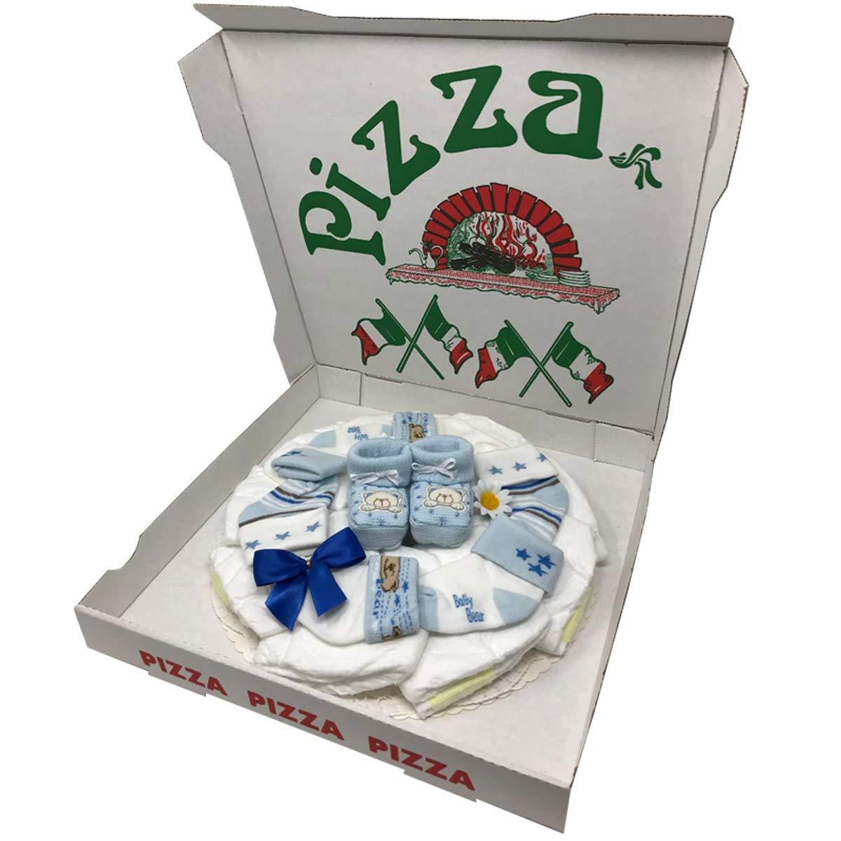 Babyparty oder Geburt.Windeltorte Windelpizza Booties Boy Blau Geschenk zur Taufe
