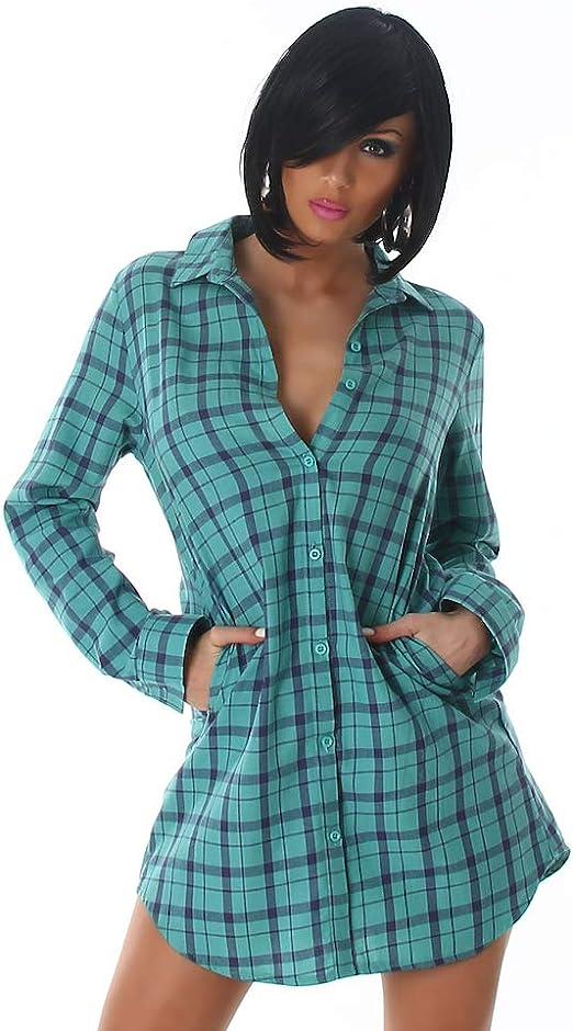 Blanco Store - Maxi Camisa de Mujer Blusa Larga a Cuadros Mini Vestido con Botones Verde 32/Small: Amazon.es: Ropa y accesorios
