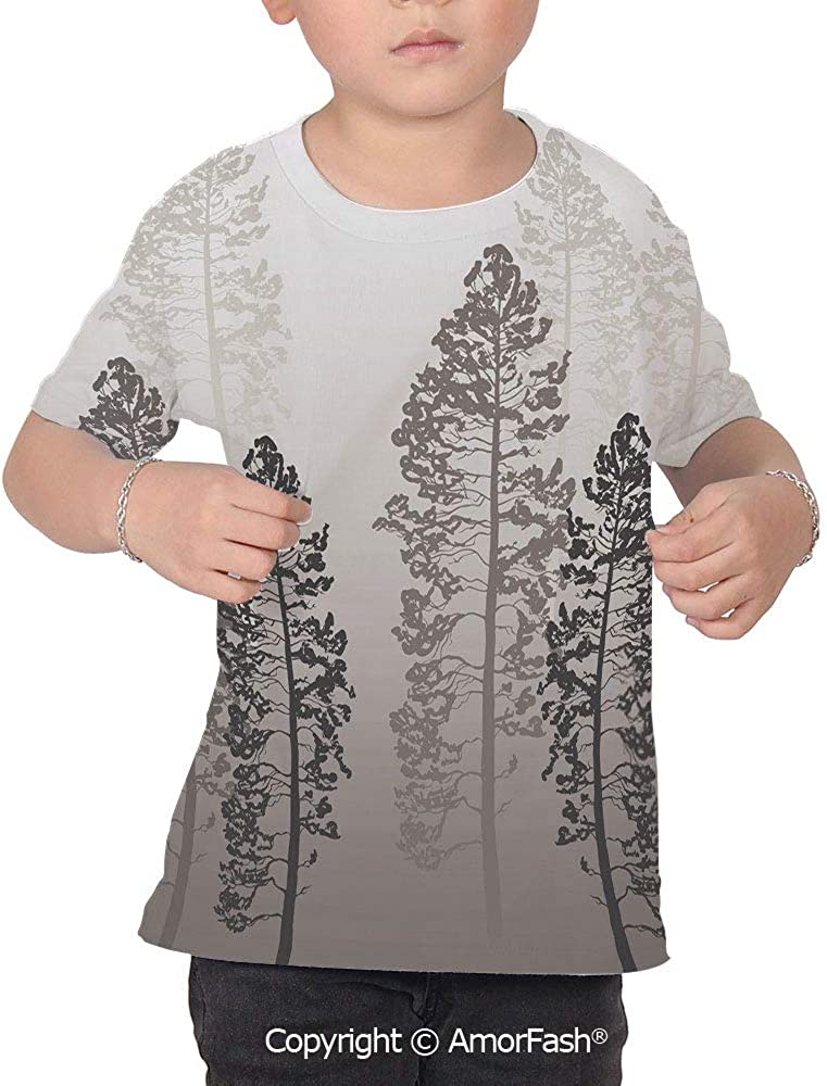 Country Over Print T-Shirt,Boy T Shirt,Size XS-2XL Big,Pine Trees in The Forest