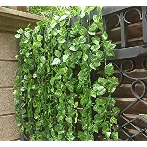 KissDate 82 Ft 12 Pack Artificial Flowers Silk Fake Vine Hanging Plant Green Leaves Garland Home Garden Wall Wedding Party 12