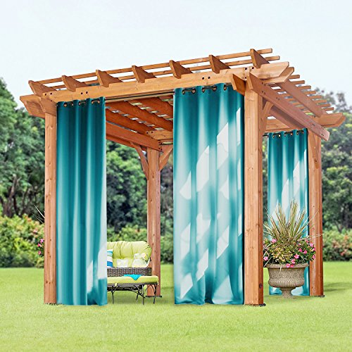 Patio Garden Outdoor Blackout Curtain - PONY DANCE Fade Resistant Grommet Top Blackout Outdoor Curtain / Drape,52 x 95 Inch,Teal Blue,Set of 1 Panel. (Outdoor Window Treatments)