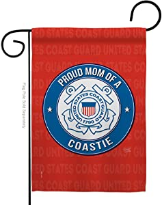 Coast Guard Proud Mom Coastie Garden Flag Armed Forces USCG Semper Paratus United State American Military Veteran Retire Official Small Gift Yard House Banner Double-Sided Made In USA 13 X 18.5