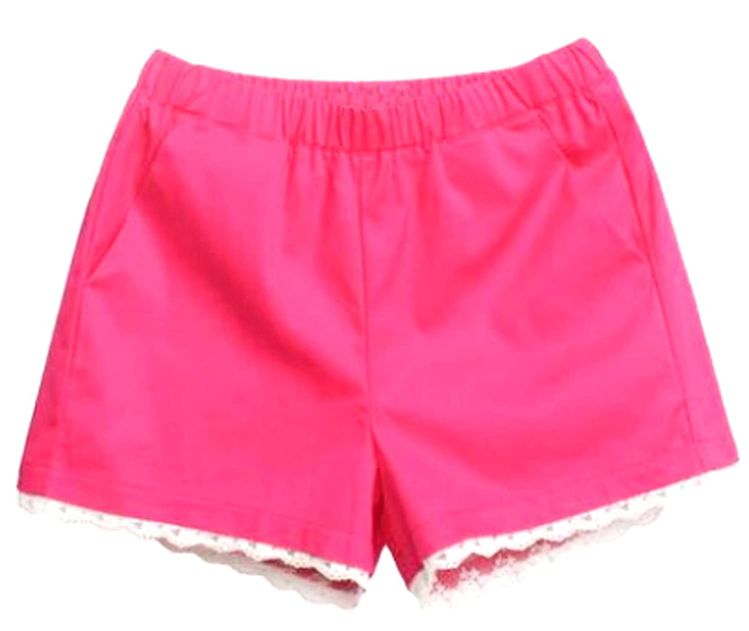 MLG Womens Casual Outside Home Lace Trim Pockets Beach Shorts
