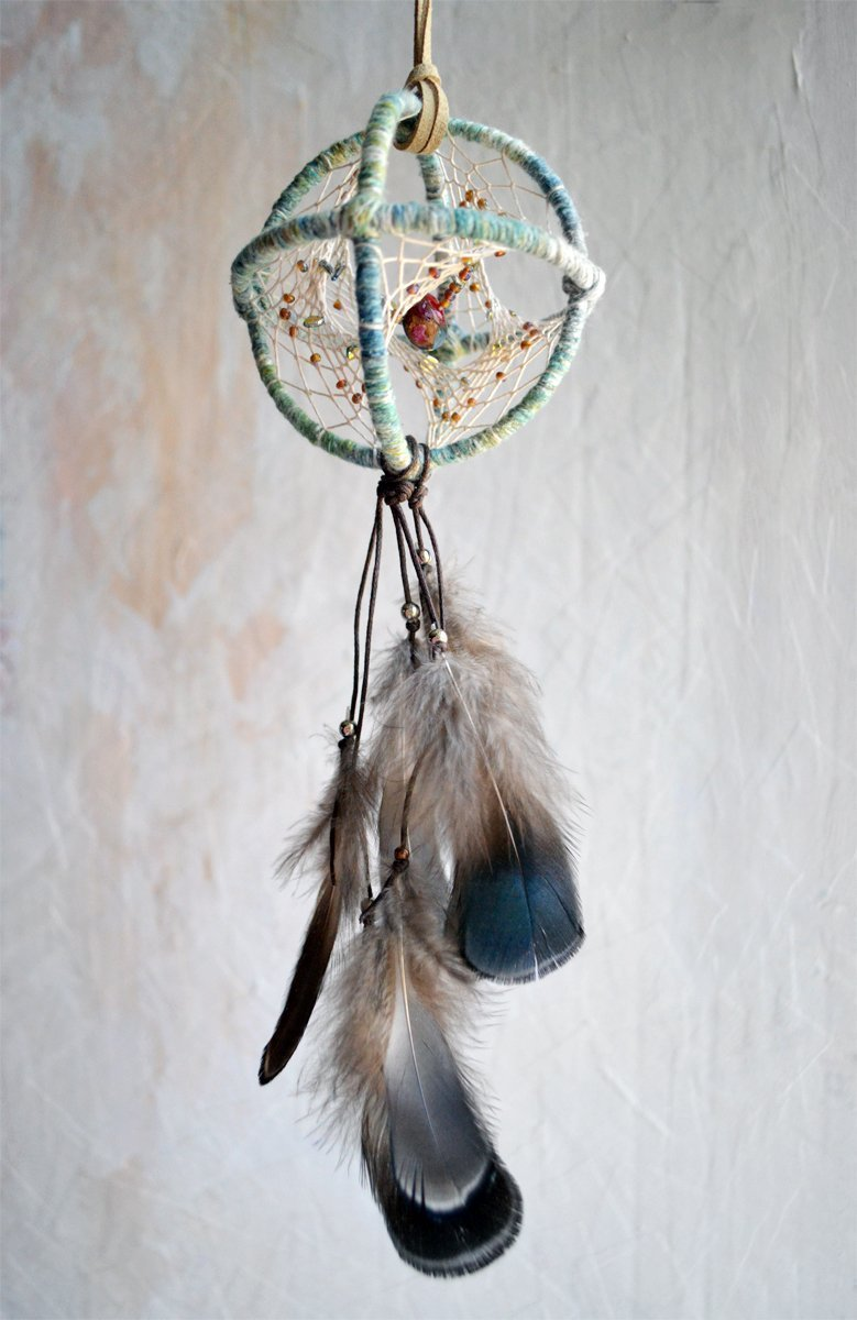 Small Teal Bohemian Feathers Dragon Scale 3D Dream Catcher Handmade