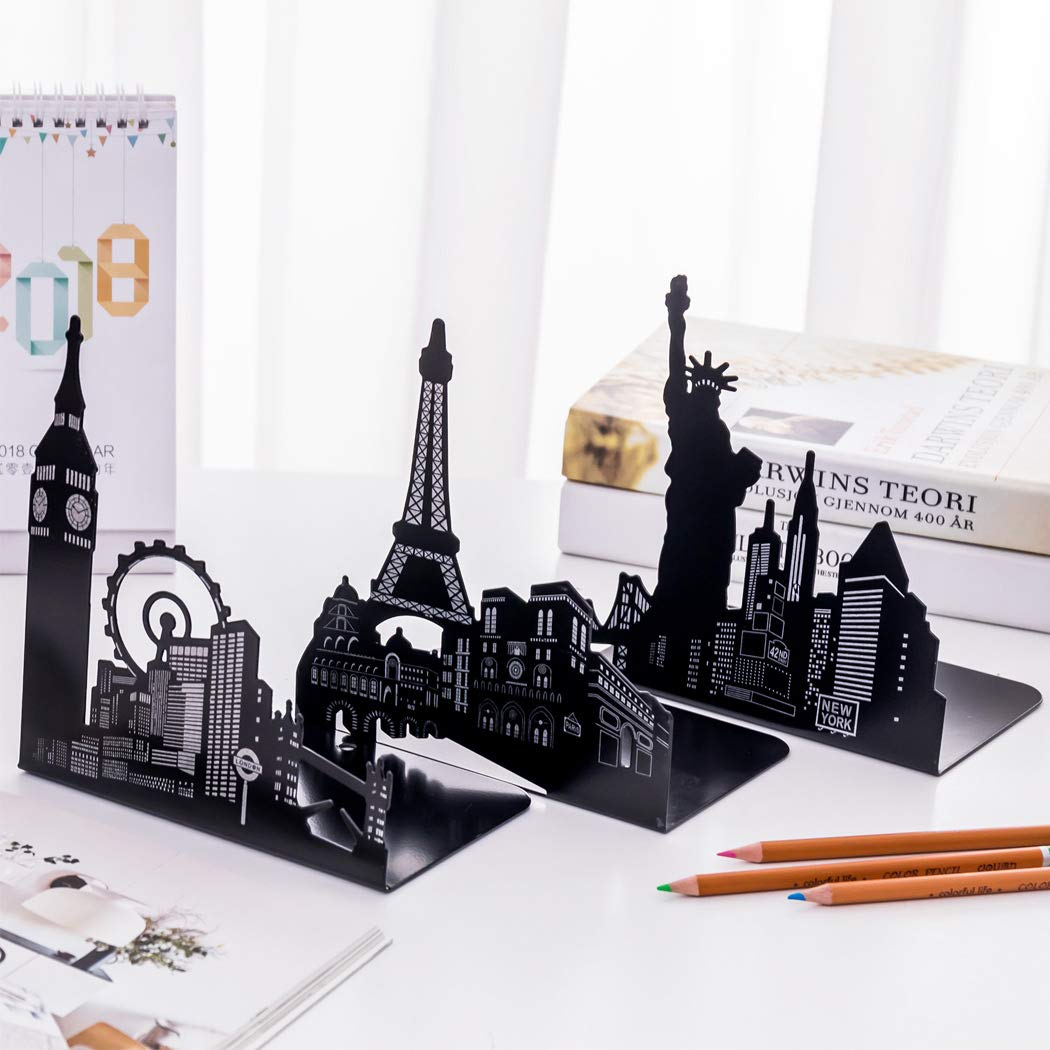 Sipliv fermalibri in acciaio universale portaoggetti economici fermalibri da scrivania statua della libert/à nero 1 paio