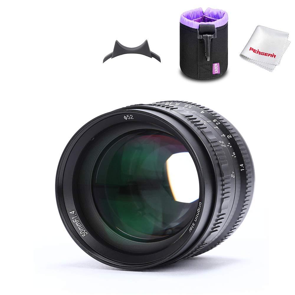 Brightin Star 50mm F1.4 Large Aperture Portrait Lens for Fuji X-Mount Cameras PRO1, PRO2, E1, E2, E3, H1, T1, T10, T2, T3, T20, T30, T100, A1, A3, A5, A20, M1, W/Lens Pouch Bag & Focus Wrench, Black by brightin star