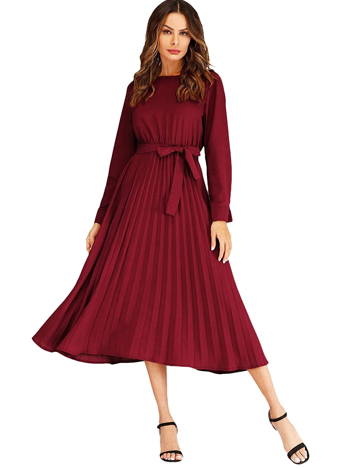 1930s Day Dresses, Afternoon Dresses History Verdusa Womens Round Neck Long Sleeve Belted Pleated Fit and Flare Dress $28.99 AT vintagedancer.com